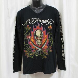エドハーディー ED HARDY メンズ長袖Tシャツ ブラック Lサイズ M03GTC303 新品 Vネック 黒