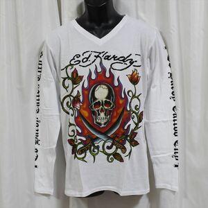 エドハーディー ED HARDY メンズ長袖Tシャツ ホワイト Mサイズ M03GTC303 新品 Vネック 白