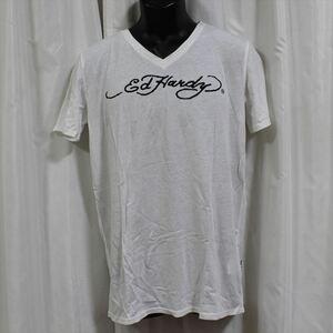 エドハーディー ED HARDY メンズ半袖Tシャツ ホワイト Lサイズ M02TCHB544 新品 Vネック 白