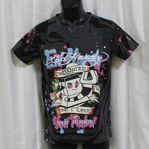 エドハーディー ED HARDY メンズ半袖Tシャツ チャコール Sサイズ 新品 Vネック YOU ROBOT