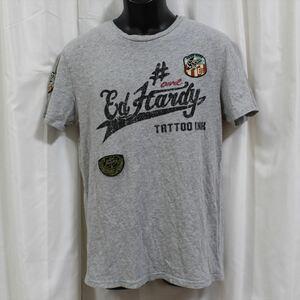 エドハーディー ED HARDY メンズ半袖Tシャツ グレー Sサイズ M02ABPP052 新品