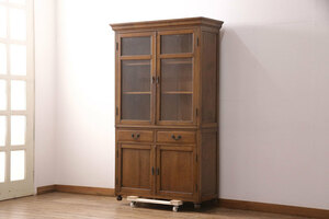R-051387 アンティーク家具 ナラ材 上手物!大正ロマン感じる重ねキャビネット(食器棚、収納棚、ブックケース、本箱、飾り棚、陳列棚)