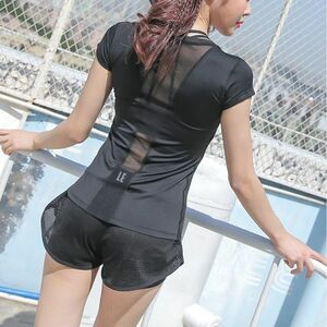 スポーツシャツ レディース ウェア ヨガ ホットヨガ トップス Tシャツ 半袖 背中メッシュ レイヤードシャツ Sサイズ