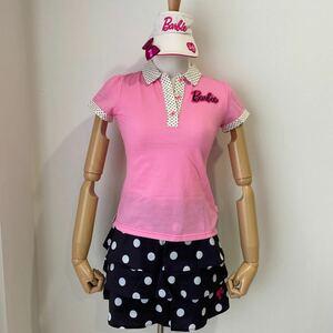 ●限定品● PEARLY GATES パーリーゲイツ Barbie バービー コラボ GOLF Golf ゴルフ ウェア レディース ポロ シャツ スカート バイザー