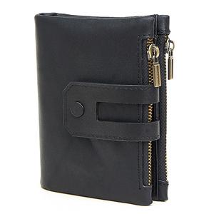 MY BAG 二つ折り財布 短財布 高級レザー 牛革本革 メンズ 小銭入れあり ウォレット コインケース ファスナー カード入れ 2059 ブラック