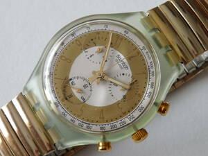 未使用電池交換済 美品 珍品蛇腹ベルトクロノ 1993年モデル スウォッチ Swatch Golden Globe 品番SCG100 ベルトサイズ、ラージ