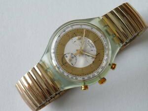 未使用電池交換済 美品 珍品蛇腹ベルトクロノ 1993年モデル スウォッチ ゴールデングローブ Swatch Golden Globe SCG100 ベルトスモール