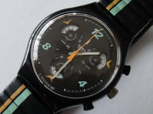珍品 少針3箇所が丸盤で回転 未使用電池交換済 美品 クロノ 1998年モデル スウォッチ Swatch Cd Player 品番SCB120ベルトサイズ、ラージ
