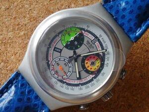 未使用電池交換済 スウォッチ Swatch 初代アイロニークロノ 青