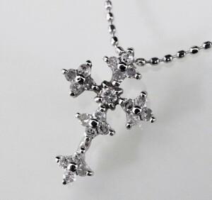K18WG 天然ダイヤモンド 0.20ct クロスデザイン ペンタント ネックレス 40㎝ ■2585-10☆☆