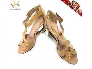ダイアナ DIANA パンプス 23 MR エナメル(レザー)×麻 ライトブラウン×ベージュ レディース ウェッジソール/オープントゥ 靴