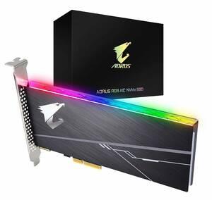 ★美品☆ GIGABYTE / ギガバイト AORUS RGB AIC NVMe SSD 1TB GP-ASACNE2100TTTDR RGB発光ユニット搭載 PCIeカード型【送料無料】