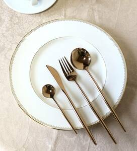 【新品未使用品】クチポール風 カトラリー4点セット ピンクゴールド ディナーナイフ・フォーク・スプーン ティースプーン