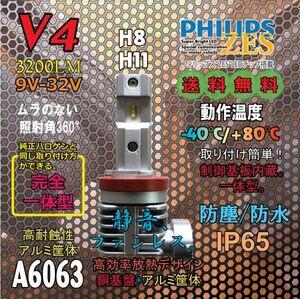 爆光!3200lm、PHILIPS ZES LEDチップ採用!熱に強い!強制空冷式高級LEDバルブ V4 シリーズ。 V4-H8/H11兼用