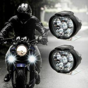 1 ペアオートバイヘッドライト 6500 18k ホワイト超高輝度 6 LED バイクフォグランプ 1200LM LED スポットライト