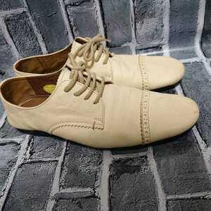CLONE 36 23cm 日本製 パンプス レザーシューズ フラット ベージュ レースアップ クローン レディース 婦人靴 靴 くつ 中古 T012