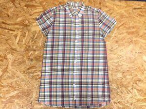 ビームス ボーイ BEAMS BOY チェック ボタンダウン 半袖シャツ ワンピース チュニック レディース 日本製 綿 ベージュ 赤 紺