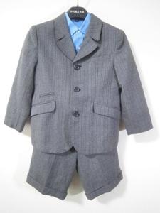 ジャン二ヴァレンチノ キッズ 子ども服 男の子用 スーツ ジャケット 長袖シャツ 半ズボン サスペンダー 入学式 結婚式 グレー 120 5MA