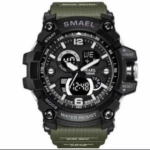 【1円スタート!】最落なし!海外人気ブランド SMAEL S-SHOCK DualTimeメンズ高品質腕時計 防水 アナログ&デジタル アーミーグリーン♪人気
