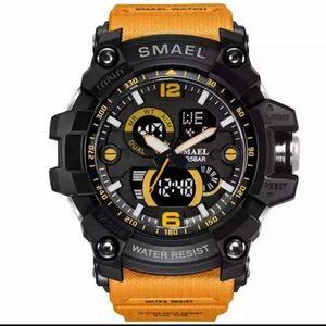 【1円スタート!】最落なし!海外人気ブランド SMAEL S-SHOCK DualTimeメンズ高品質腕時計 防水 アナログ&デジタル オレンジ♪人気
