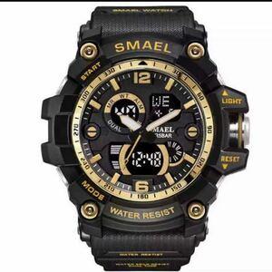 【1円スタート!】最落なし!海外人気ブランド SMAEL S-SHOCK DualTimeメンズ高品質腕時計 防水アナログ&デジタル ゴールドブラック♪人気