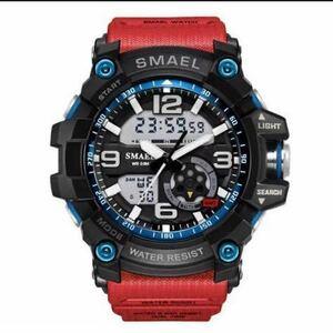 【1円スタート!】最落なし!海外人気ブランド SMAEL S-SHOCK DualTimeメンズ高品質腕時計 防水 アナログ&デジタル レッド♪人気1
