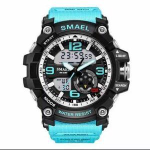 【1円スタート!】最落なし!海外人気ブランド SMAEL S-SHOCK DualTimeメンズ高品質腕時計 防水 アナログ&デジタル ライトブルー♪人気1