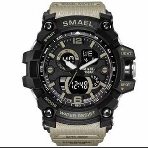 【1円スタート!】最落なし!海外人気ブランド SMAEL S-SHOCK DualTimeメンズ高品質腕時計 防水 アナログ&デジタル カーキ♪人気1