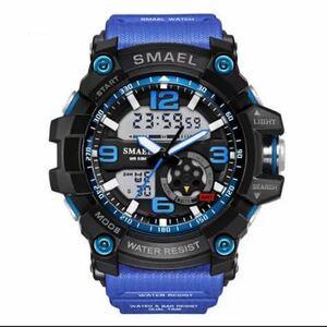 【1円スタート!】最落なし!海外人気ブランド SMAEL S-SHOCK DualTimeメンズ高品質腕時計 防水 アナログ&デジタル ダークブルー♪人気