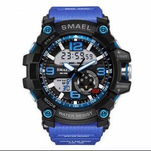 【1円スタート!】最落なし!海外人気ブランド SMAEL S-SHOCK DualTimeメンズ高品質腕時計 防水 アナログ&デジタル ダークブルー♪人気1