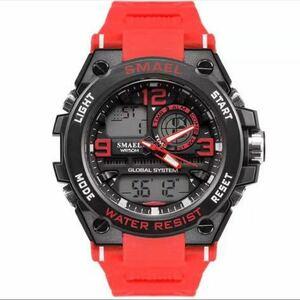 【1円スタート!】最落なし!海外人気ブランド SMAEL S-SHOCK stylish メンズ高品質腕時計 防水 アナログ&デジタル レッド♪人気