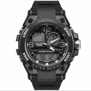 【1円スタート!】最落なし!海外人気ブランド SMAEL S-SHOCK stylish メンズ高品質腕時計 防水 アナログ&デジタル グレー♪人気