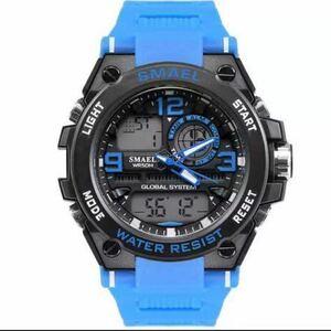 【1円スタート!】最落なし!海外人気ブランド SMAEL S-SHOCK stylish メンズ高品質腕時計 防水 アナログ&デジタル ライトブルー♪人気1