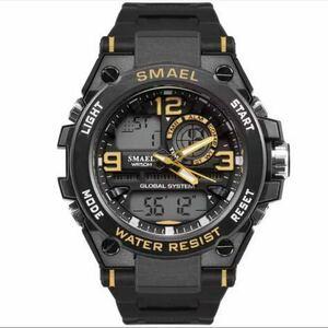 【1円スタート!】最落なし!海外人気ブランド SMAEL S-SHOCK stylish メンズ高品質腕時計 防水 アナログ&デジタル イエロー♪人気