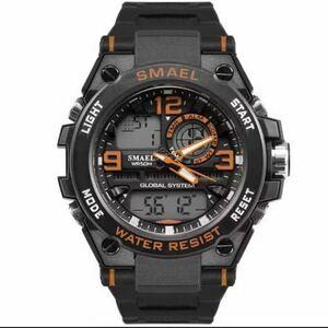 【1円スタート!】最落なし!海外人気ブランド SMAEL S-SHOCK stylish メンズ高品質腕時計 防水 アナログ&デジタル オレンジ♪人気