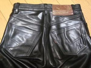 ★☆美品!Aero Leather Five-Pocket Pants Horsehide Black Size 28☆★