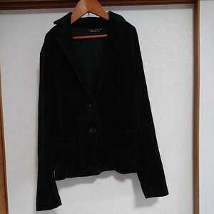【UNIQLO/ユニクロ】テーラードジャケット ベロア 薄手 黒 ブラック レディース M