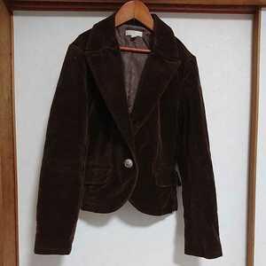 【KOOKAI/クーカイ】テーラードジャケット ショート丈 ブラウン 茶 ベロア ペイズリー 38 M レディース