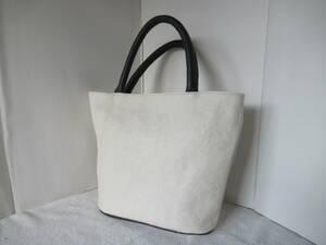 手作り 本革製ハンドバック 底面22.5×8.5cm 高さ23.5cm シワ加工の白地本体×ダークグレーの持ち手 口はマグネット