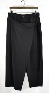 Yohji Yamamoto Pour Homme/ヨウジヤマモトプールオム 17AW リンクルギャバジンラップパンツ HK-P24-100 サイズ:2 ブラック 20n03