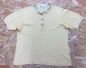 【日本製】 DAKS LONDON ダックス Lサイズ レディース ポロシャツ 鹿の子 ボタン周りに刺繍 半袖 カットソー 綿100% イエロー 黄色