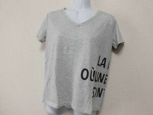 assk743☆ ■■BOU JELOUD■■ 半袖VネックTシャツ トップス プリント カットソー グレー Mサイズ 綿混素材