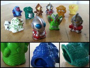 ウルトラマン 怪獣 怪人 ソフビ 指人形 フィギュア バルタン星人 キングジョー ジャミラ ゴルザ アギラ 10点 セット まとめて レトロ 玩具