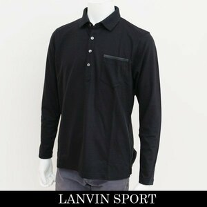 新品 定価2.1万円 ランバン スポール 長袖 ニット ポロ シャツ 黒 L 40 ブラック LANVIN SPORT ジャージー ゴルフウェア 吸水速乾