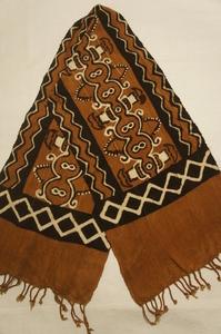 アフリカ手織木綿茶泥黒泥染ボゴラン布3枚ハギ[E12232]