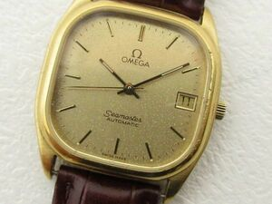 OMEGA オメガ Seamaster シーマスター 自動巻き メンズ腕時計 デイト 文字盤 ゴールド 新品型押しレザーベルト ■L23455YER-200411-80-03