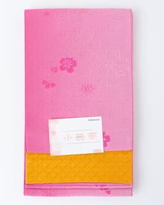 【半幅帯】リバーシブル ぼかし 浴衣帯 小袋帯 袴下帯 四寸帯(ピンク×イエロー)撫子 送料込