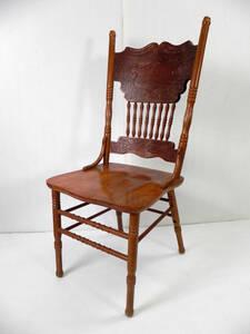 アンティーク家具 ◇ ダイニングチェア 椅子 天然木 彫刻 木製 ◇ 直接引取OK 管6597