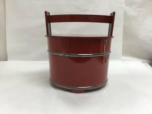 茶道具 手桶水指 朱塗 銀箍 蓋裏波千鳥蒔絵 輪島塗 水尻里美作
