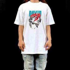 新品 大きい オーバー サイズ XXL 3XL 4XL 5XL 対応 ダビデ デヴィッド ボウイ DAVID 稲妻 雷 メイク ビッグ Tシャツ 黒 ロンT パーカー 可